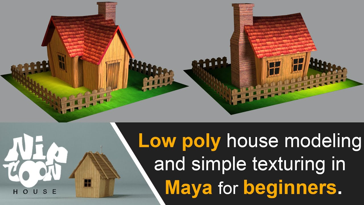 Low poly house model for beginners and simple texture in maya