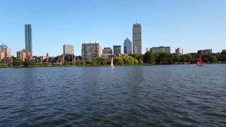 Riding a boat on the Charles River Boston