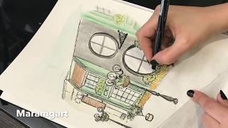 Bahrain Buildings Watercolor Sketch Maramgart