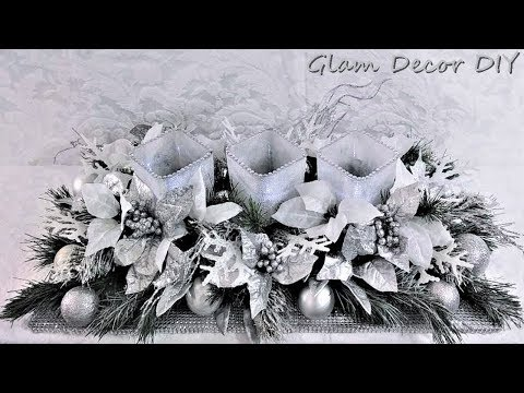 Dollar Tree DIY Glam Frosted Christmas Centerpiece