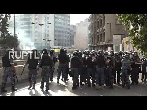 Lebanon: Anti-Macron Protesters Scuffle With Police Outside French Amb