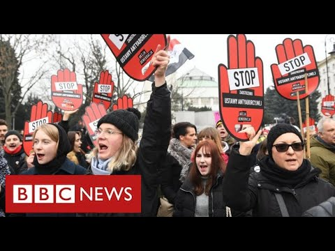Mass protests in Poland against law banning almost all abortions - BBC News