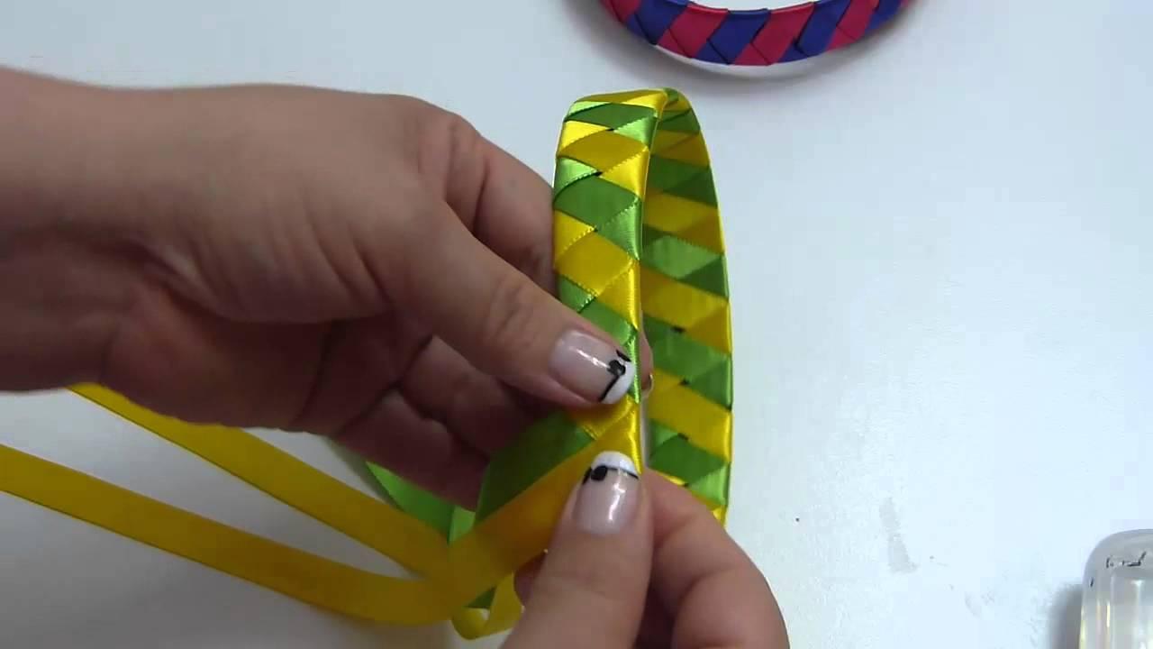 Diademas Tejidas Con Cinta Dos Colores Two Color Woven Headbands - Como-se-hacen-diademas