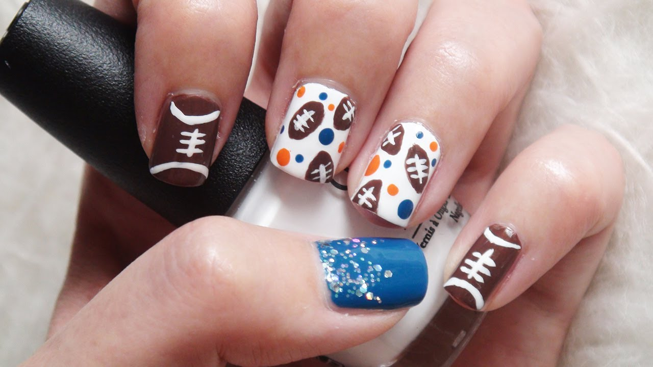 Football Nails! Cute & Easy Design - YouTube
