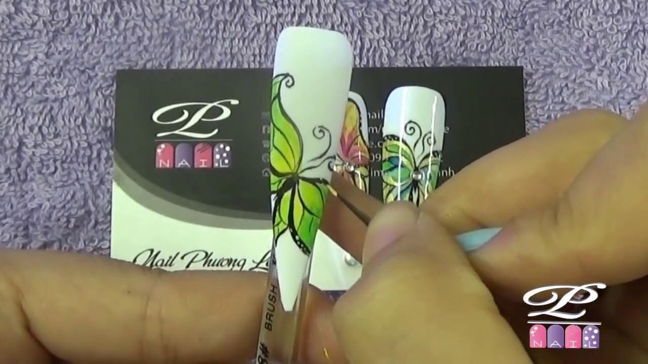Video thực hành sử dụng cọ thư pháp để vẽ bươm bướm bằng màu nước Nail 2