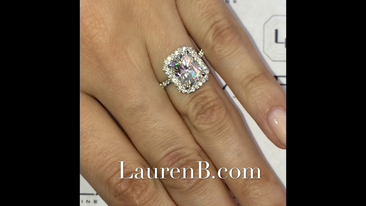 2 ct Radiant Cut Moissanite Invisible Gallery Ring