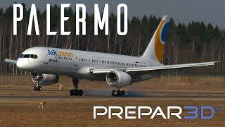 Prepar3D - Captain Sim Boeing 757  - Landing at Palermo  - TrackIR