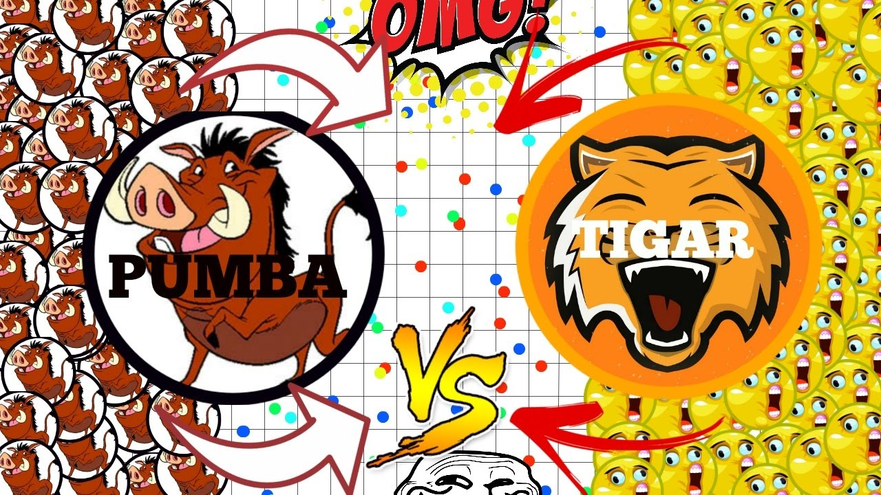 AGAR IO - PUMBA VS TIGAR!! WHO IS THE BEST TO TROLL IN AGARIO?!?