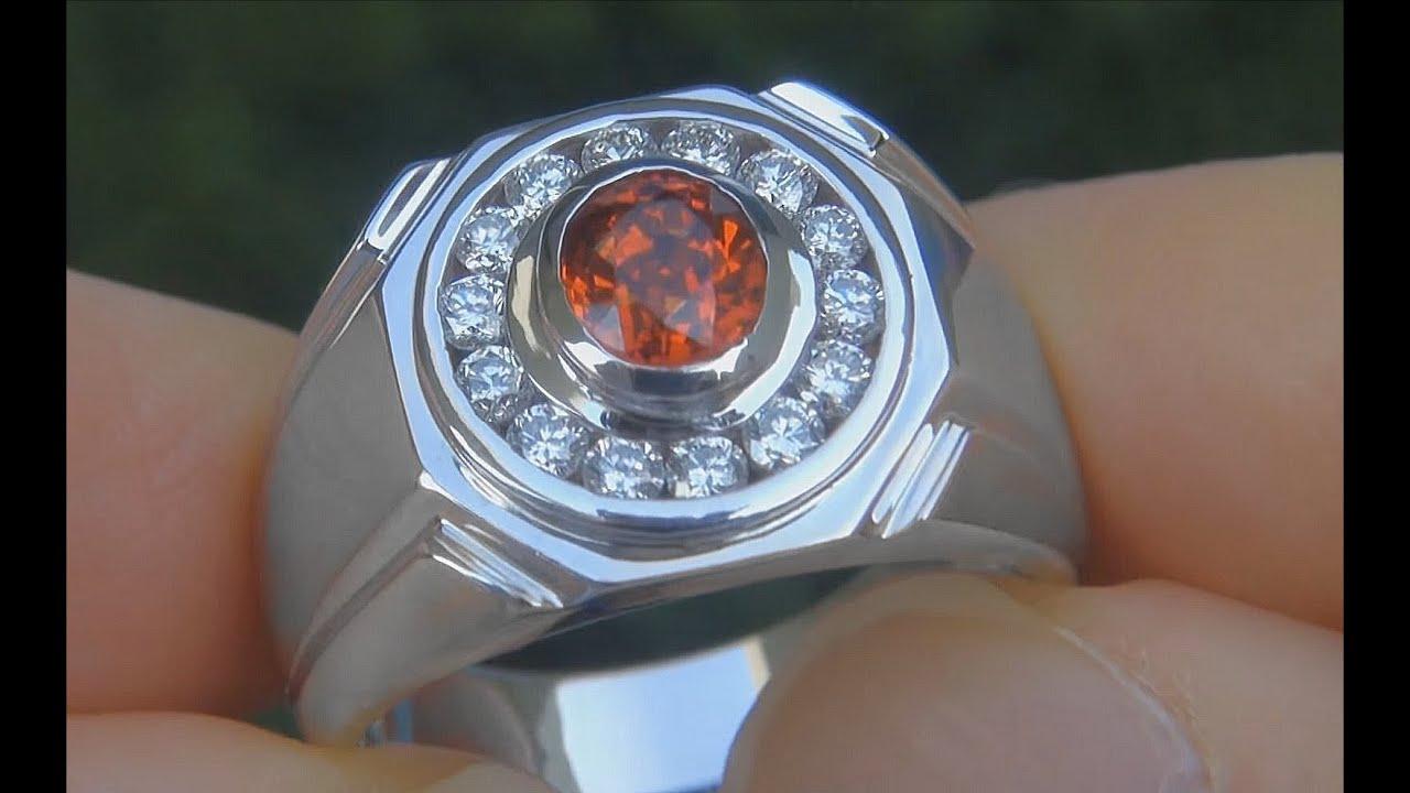 Men S Natural Vvs Orange Sapphire Amp Diamond 14k White Gold
