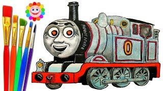 How to DRAW Train Thomas and Friends TRAINS Video for KIDS TIMOTHY THE GHOST ENGINE