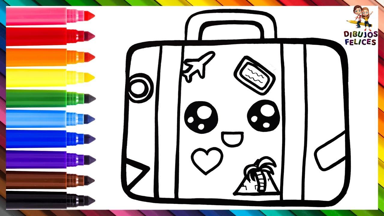 Cómo Dibujar Un Equipaje 🧳✈️💚 Dibuja y Colorea Un Lindo Equipaje Arcoiris 🌈 Dibujos Para Niños