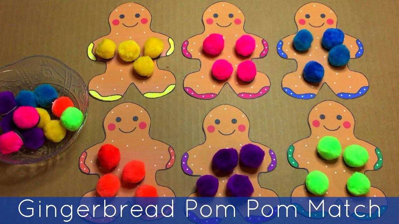 Gingerbread Pom Pom Color Match - Fine Motor and Math For Preschool ...