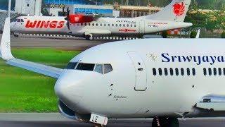 Lihat Bagaimana Proses Take Off  Dua Pesawat Boeing 737 Sriwijaya Air dan ATR 72 Wings Air