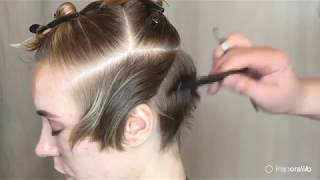 "SHORT WOMEN'S CUT WITH SHORT FORELOCK in the ""CONSTRUCTOR"" technique"