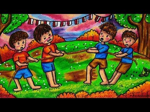 Cara Menggambar Dan Mewarnai Tema Lomba Tarik Tambang 17 Agustus Kemerdekaan Indonesia Yang Bagus Youtube