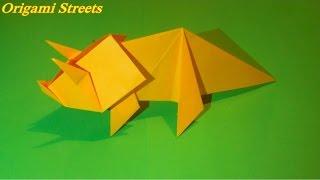 Как сделать динозавра из бумаги. Оригами динозавр.