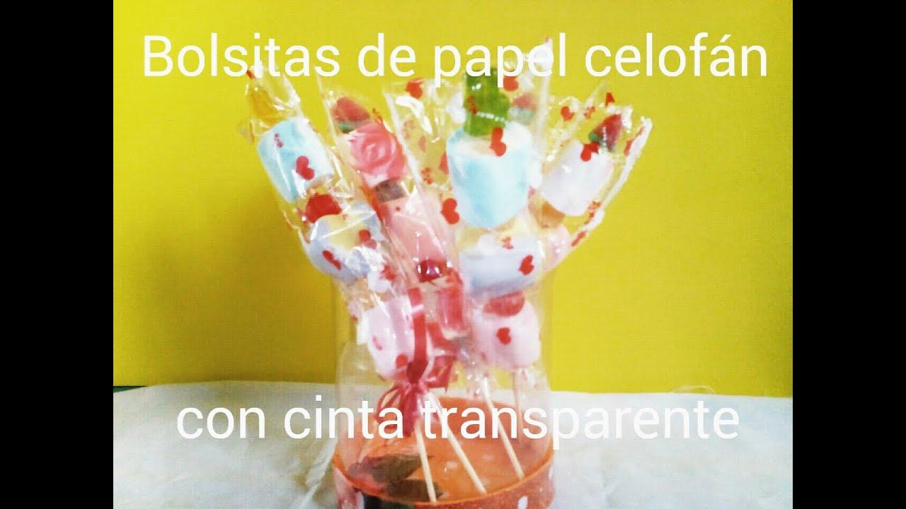 Como hacer bolsitas de papel celofan con cinta - Papel de regalo transparente ...