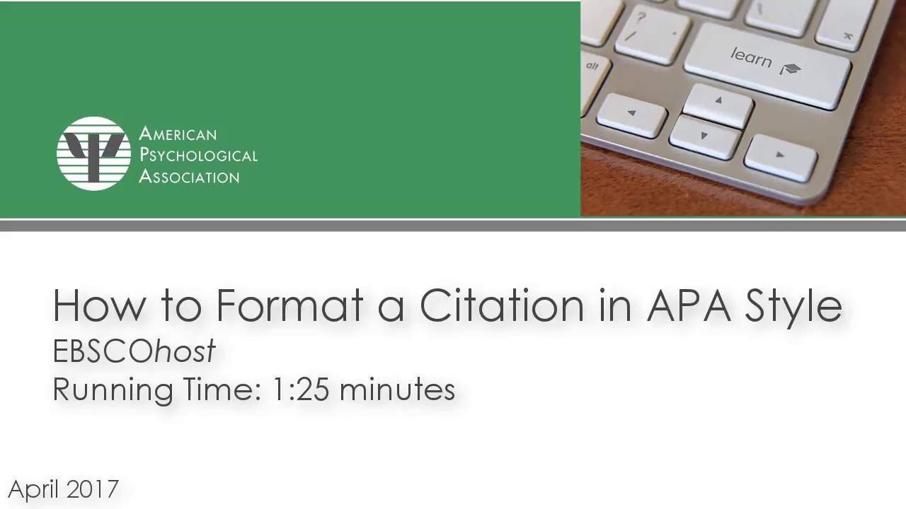 format a citation in apa style using ebscohost youtube