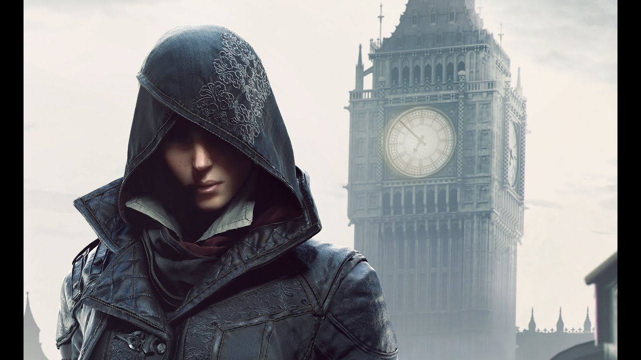 Evie Frye of Assassin's Creed Syndicate in front of a clock.