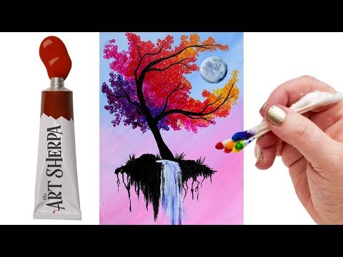 EASY Autumn Tree with waterfall moon   Q Tip Acrylic Painting tutorial 🎨💜