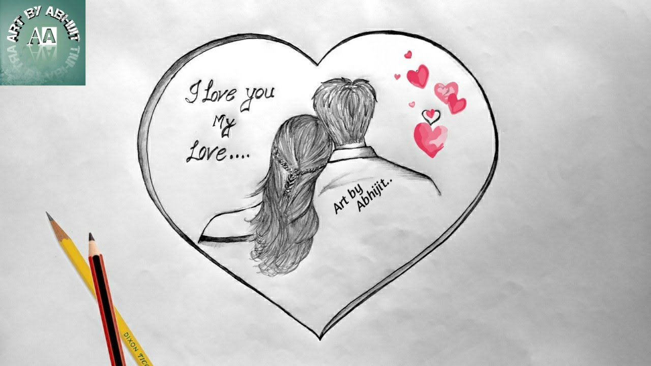 How To Draw Love Heart Love Heart Drawing With Couple Youtube