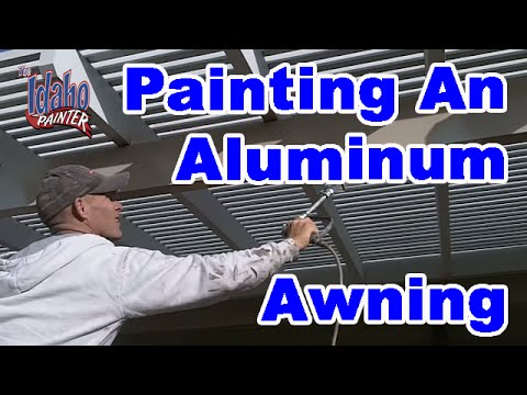 How to paint an aluminum awning.Painting an awing with a paint sprayer improvement hacks.
