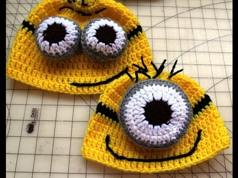 How to Crochet Hat Inspired by Despicable Me Minion Beanies   Video ... 4e06dd57a12