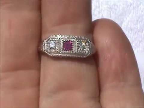 10K ANTIQUE RUBY DIAMOND FILIGREE RING NO RESERVE !