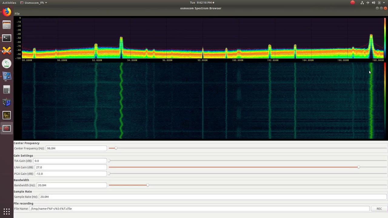Limesdr-Mini, fosphor, qspectrumanalyzer and gqrx ubuntu 18 04 1