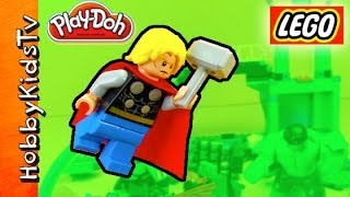 Lego PLAY-DOH Heroes Burger! HULK THOR Superhero Lab Smash Play! Blu Rio Saves Day HobbyKidsTV