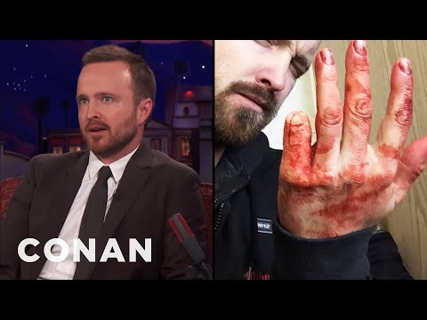 Aaron Paul's Sawed Off Pinky Finger   CONAN on TBS