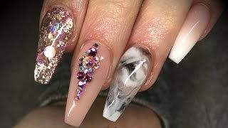 Acrylic nails - design set with swarovski crystals