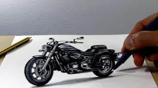 Trick Art on Paper, Painting 3D  harley davidson