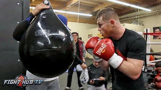 Canelo Alvarez Kills The Heavy Bag & Works on Head movement for Chavez Jr