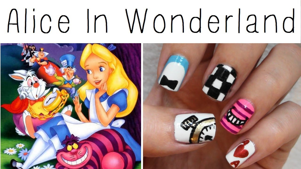 Alice In Wonderland Nail Art! - YouTube