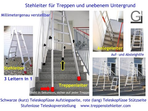 teleskopleiter leiter f r treppen teleskopleitern treppenleiter treppenhausleiter youtube. Black Bedroom Furniture Sets. Home Design Ideas