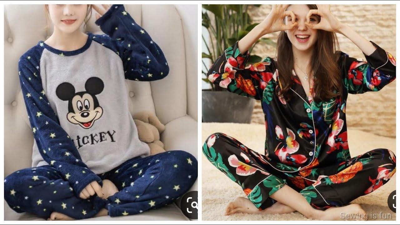 Printed Turn down collar women sleeping cotton silk pyjama set,nighty designs,loose fit night dress