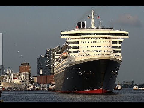 Queen Mary 2 | awesome ship horn at Hamburg Port | 4K-Quality-Video