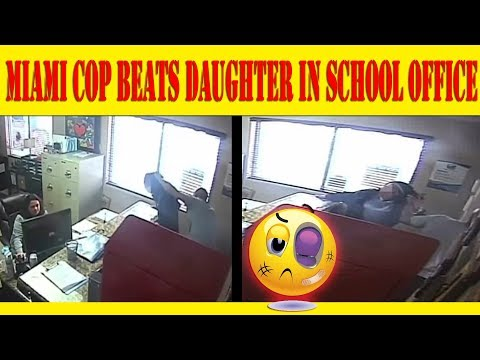 **CAUGHT ON FOOTAGE** Miami cop beats 14 year old daughter in school office!