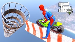 Spiderman With Smallest MOTORCYCLE SUPERHEROES PARKOUR CHALLENGE BIG HULK, Iron Man - GTA V MODS