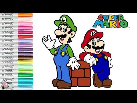 Super Mario Bros Coloring Book Page Mario & Luiji Princess Peach Nintendo | SPRiNKLED DONUTS