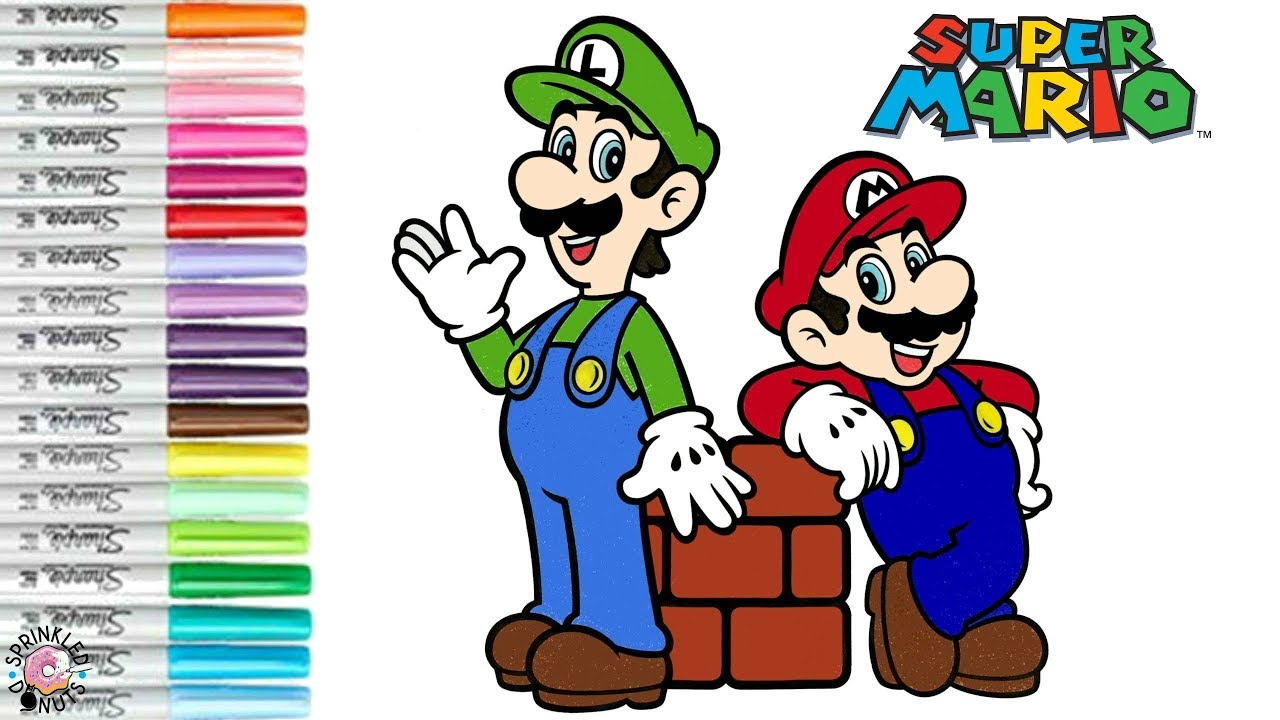 Super Mario Bros Coloring Book Page Mario & Luiji Princess Peach ...