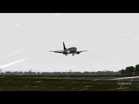 X-Plane 737 flying into storm ´EGON´ and landing @Leipzig