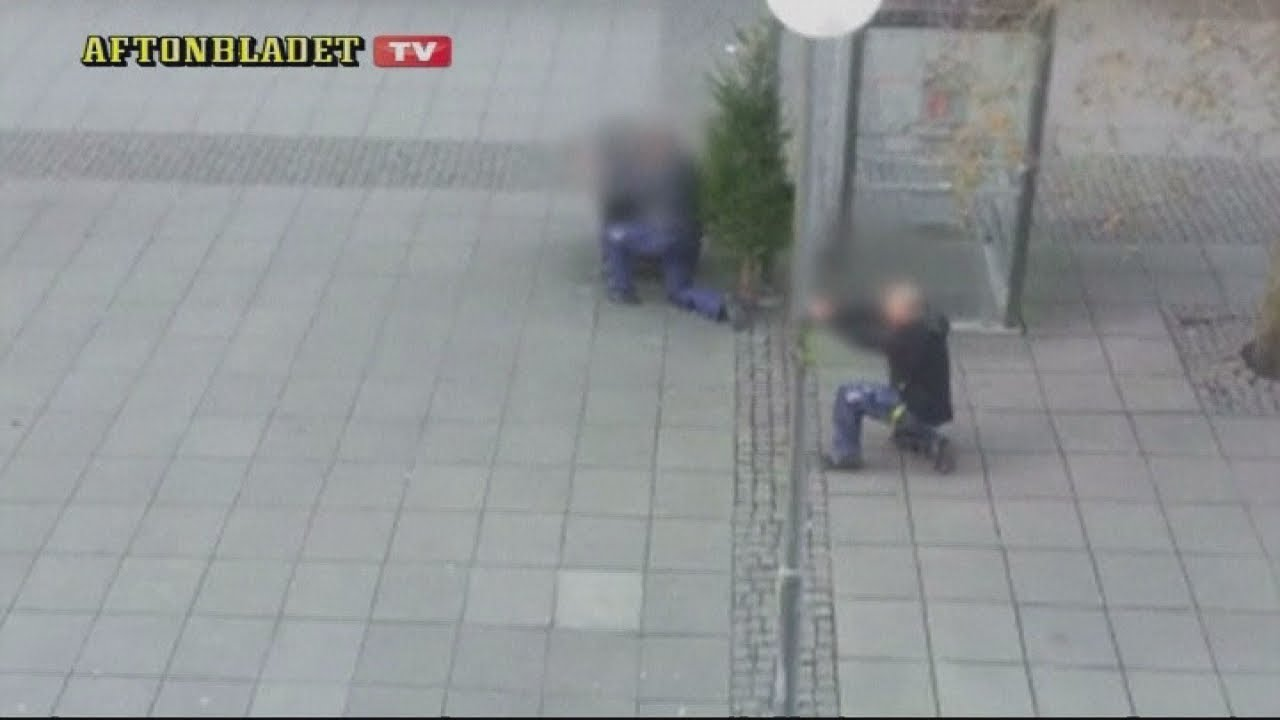 Sweden: Violent gunfight erupts between police and robbers caught on amateur video