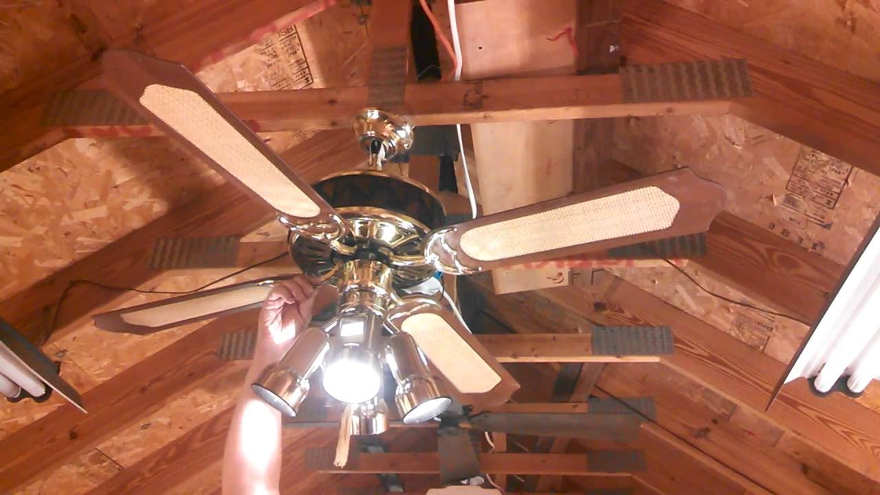 Stained Glass Ceiling Fan With Classic Fan Co Blades And Hunter Spotlight Kit Youtube