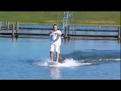 Ivan riding Florida cable park on a SUP - testing Coreban Stand Up Paddle boards