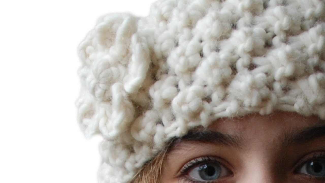 TRINITY STITCH HEAD BAND OR EAR WARMER WITH CROCHETED FLOWER - YouTube