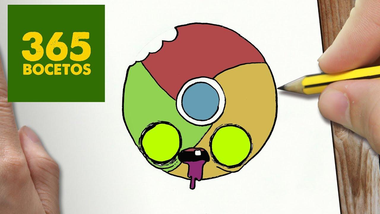 como dibujar logo chrome zombie kawaii paso a paso