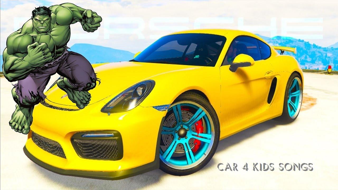 Cars colored yellow - Color Terrain Cars On Joker Truck W Cars Cartoon For Kids 3d Animation Nursery Rhymes