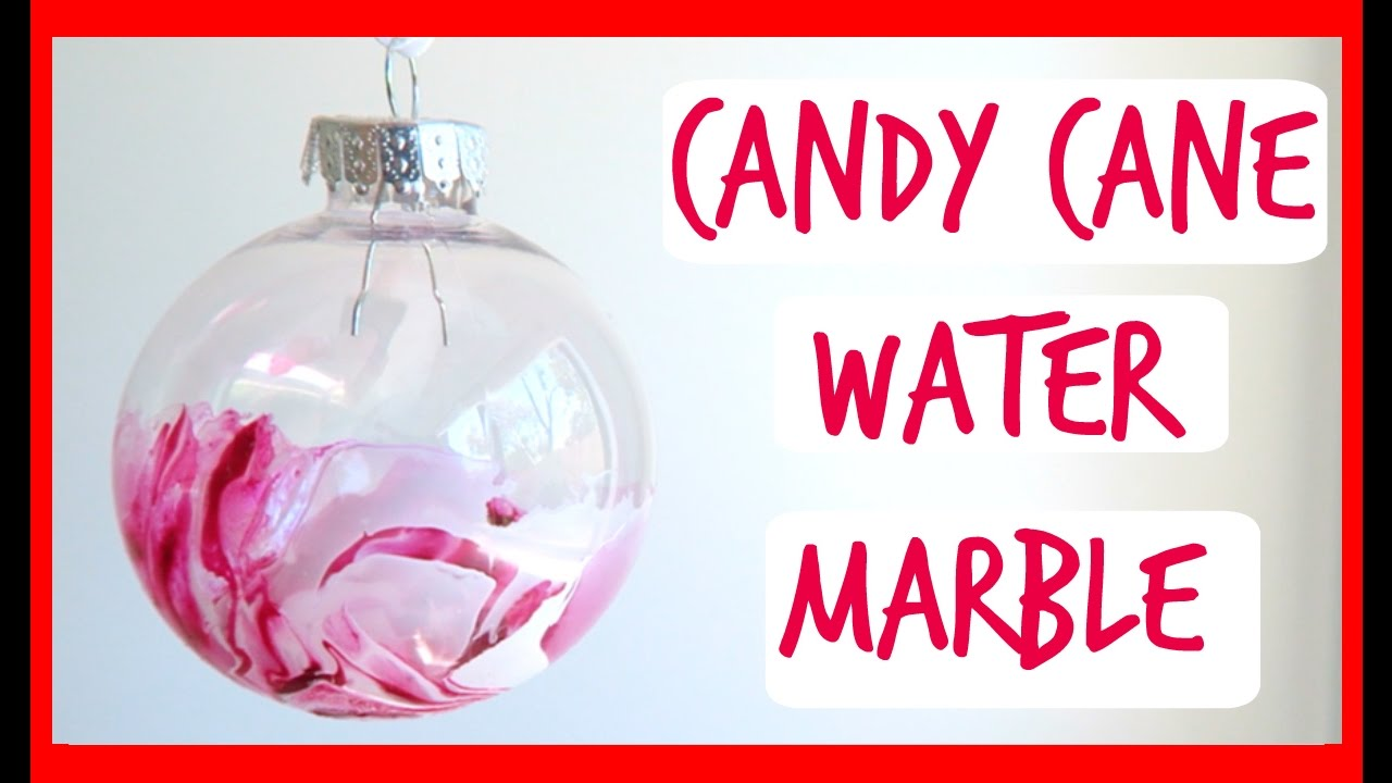 DIY Candy Cane Marble Ornaments! How to make Water Marble Christmas ...